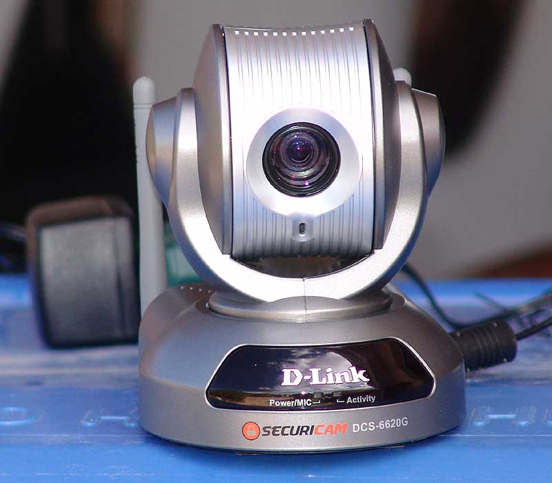 D-Link DCS-6620G Wireless Webcam - garbage can makes a nice camera stand!