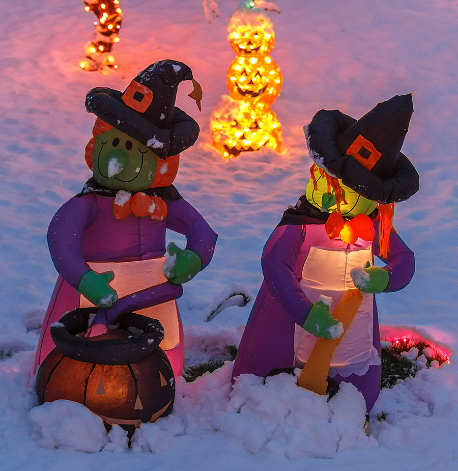 halloween witches snow