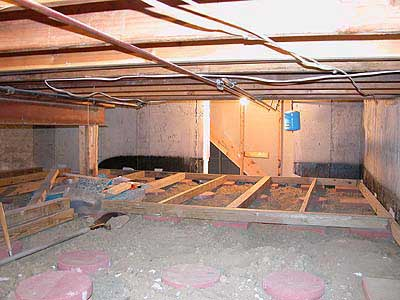 Action sequence of putting down a floor in your basement for Convert crawlspace to basement cost